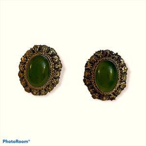 Vintage antique jade sterling silver earrings